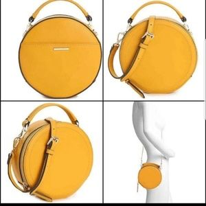 Vince Camuto round leather crossbody in sunflower